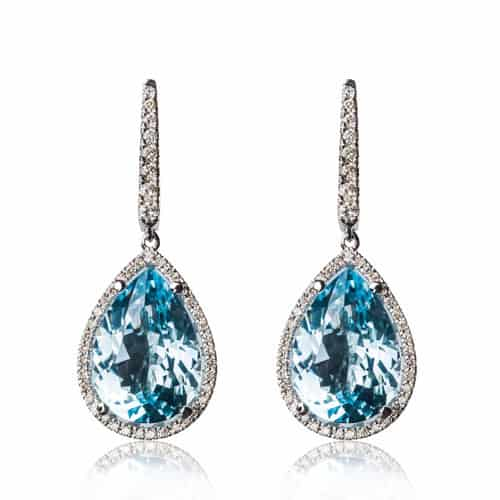 aquamarine diamond gold earrings by arax