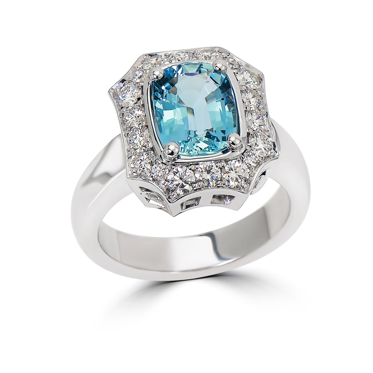 White Gold Engagement Ring with Sapphire and Diamonds