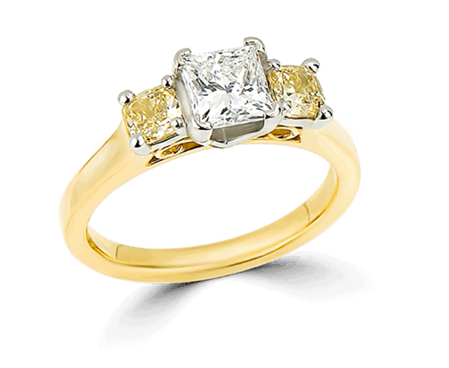Gold diamond engagement ring accented with gemstones.