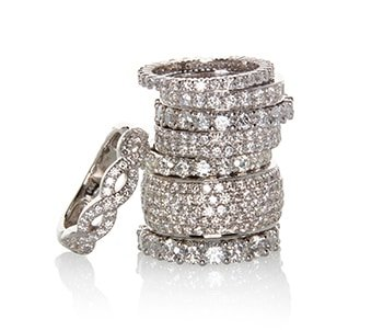 Stack of sparkling diamond rings