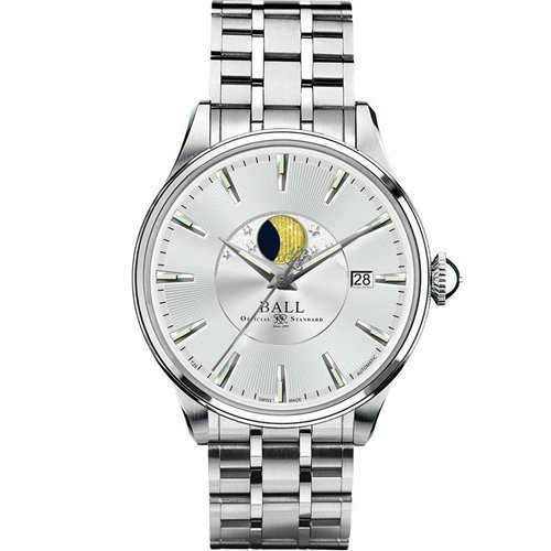 Product photo of Ball Trainmaster Moon Phase White Dial NM3082D-SJ-BE