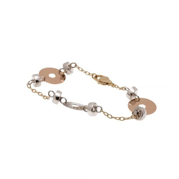 14Kt Yellow, White and Pink Gold Lynx Style Bracelet