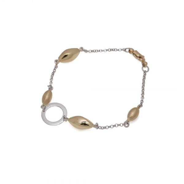 14Kt Yellow and White Gold Link Style Bracelet