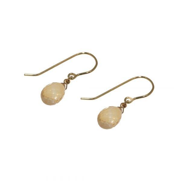 14Kt Yellow Gold Citrine Quartz Briolette Drop Earrings