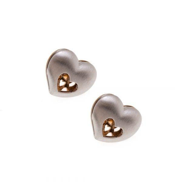 Silver Brunning Branded Heart Shape Earrings
