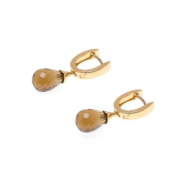 18Kt Yellow Gold and Quartz Dangle Earrings
