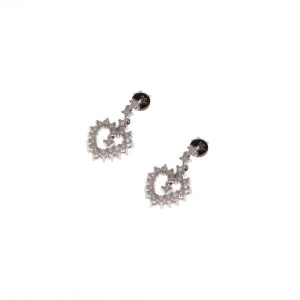 18Kt White Gold Diamond Heart Dangle Estate Earrings