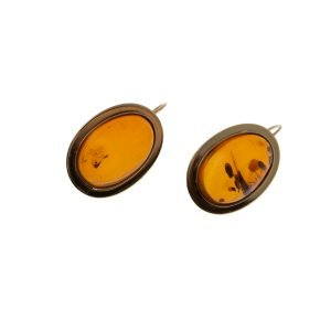 14Kt Yellow Gold Dangle Earrings with Genuine Cabochon cut Amber