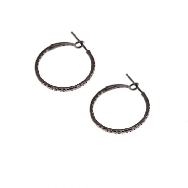 18Kt Black Gold (rodium plated) Natural Diamond Doubel Sided Hoop Earrings.