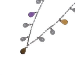 14Kt Necklace with Briolette Faceted Quartz Beeds