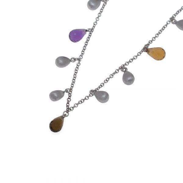 14Kt Necklace with Briolette Faceted Quartz Beeds