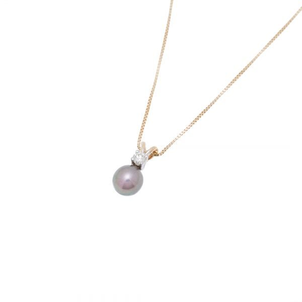 18Kt White Gold Box Chain with Fresh Water Pearl Diamond Pendant