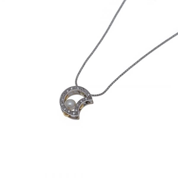 18Kt Snake Chain with Half Moon Pendant