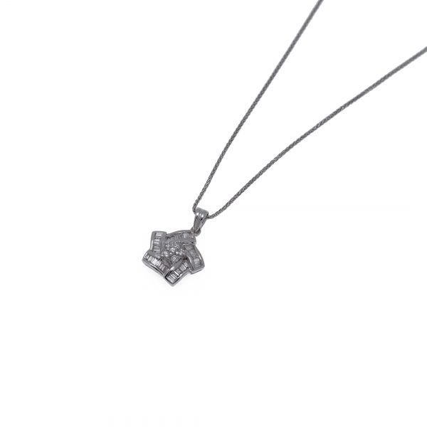 18Kt White Gold Chain with Diamond Cluster Pendant