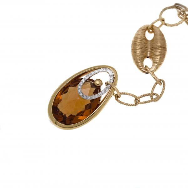 18Kt Yellow Gold Chain with Citrine Quartz Pendant