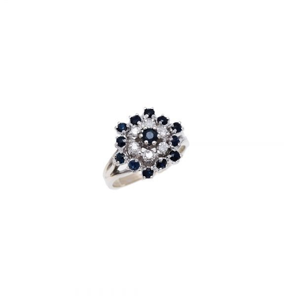 14Kt White Gold Estate Cluster Ring with Diamond and Sapphire