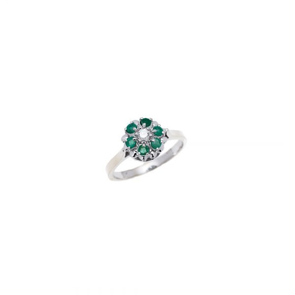 14Kt White Gold Estate Cluster Ring with Emerald and Diamond