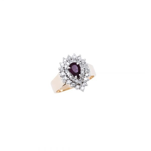 14Kt Yellow Gold Estate Cluster Ring with Diamond and Natural Ruby