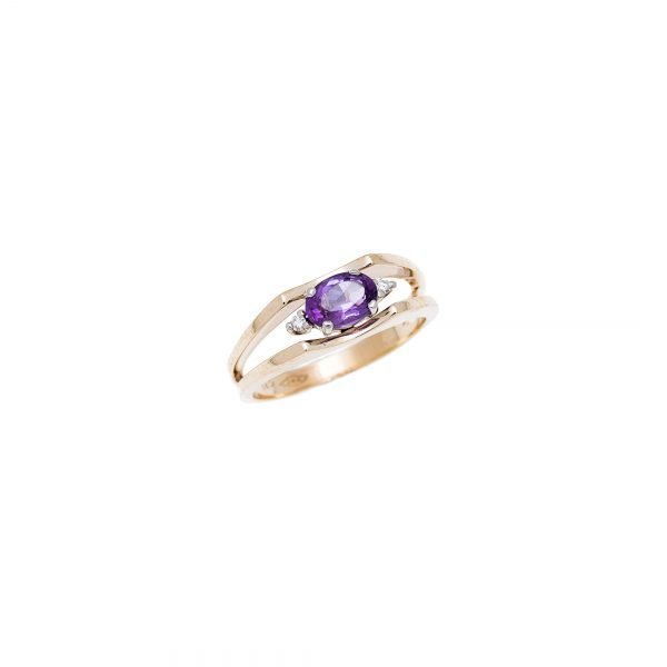 14Kt Yellow Gold Estate Ring with Amethyst and Diamond