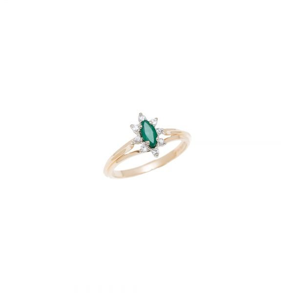 14Kt Yellow Gold Ring with Marquise Shape Emerald and Diamond