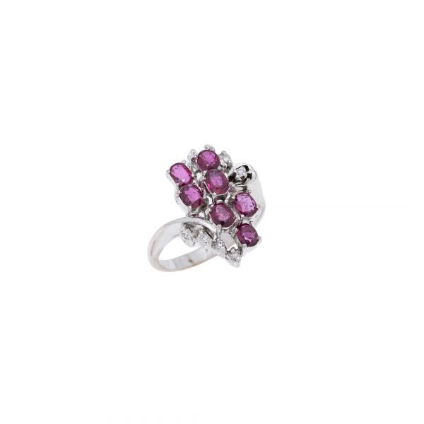 18Kt White Gold Natural Ruby and Diamond Cluster Dinner Ring