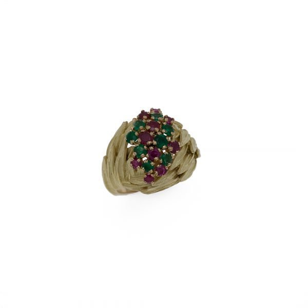 18Kt Yellow Estate Cluster Ring with Natural Rubies and Emerald