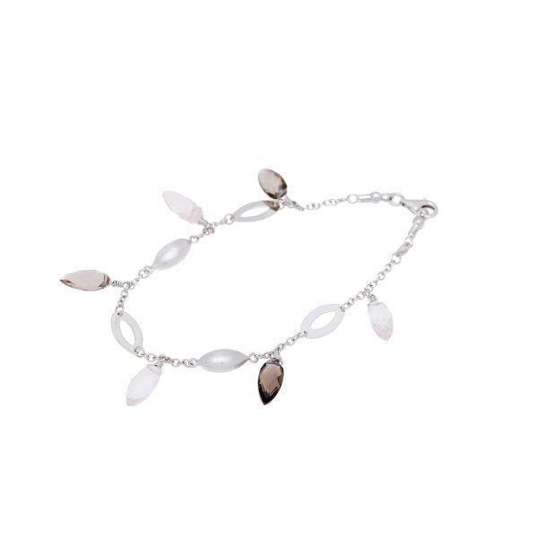 18Kt Two-Tone Quartz Stones Briolette Faceted Bracelet